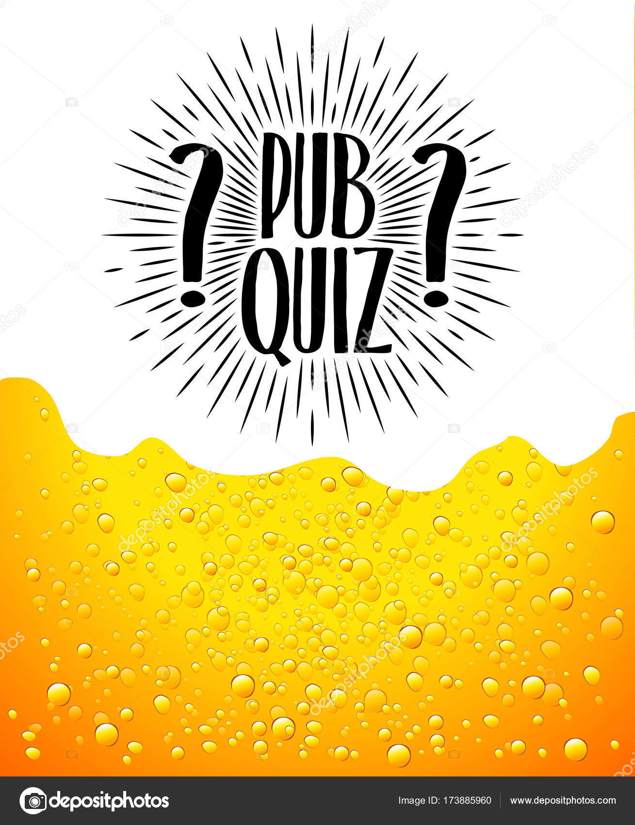 Pub quiz. Beer background. Quiz night announcement poster design web ...