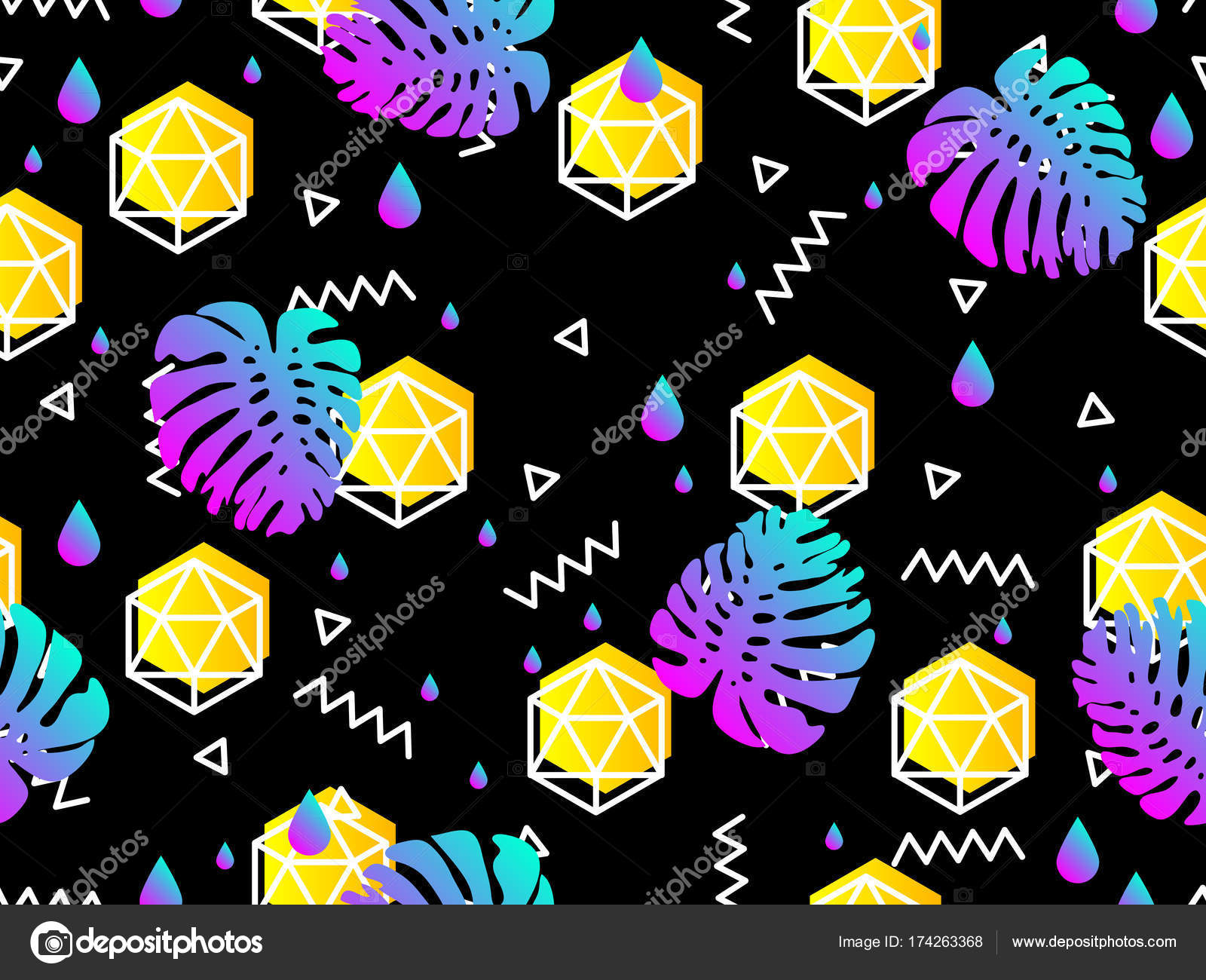 Wallpapers: 80s | Seamless geometric pattern in retro 80s