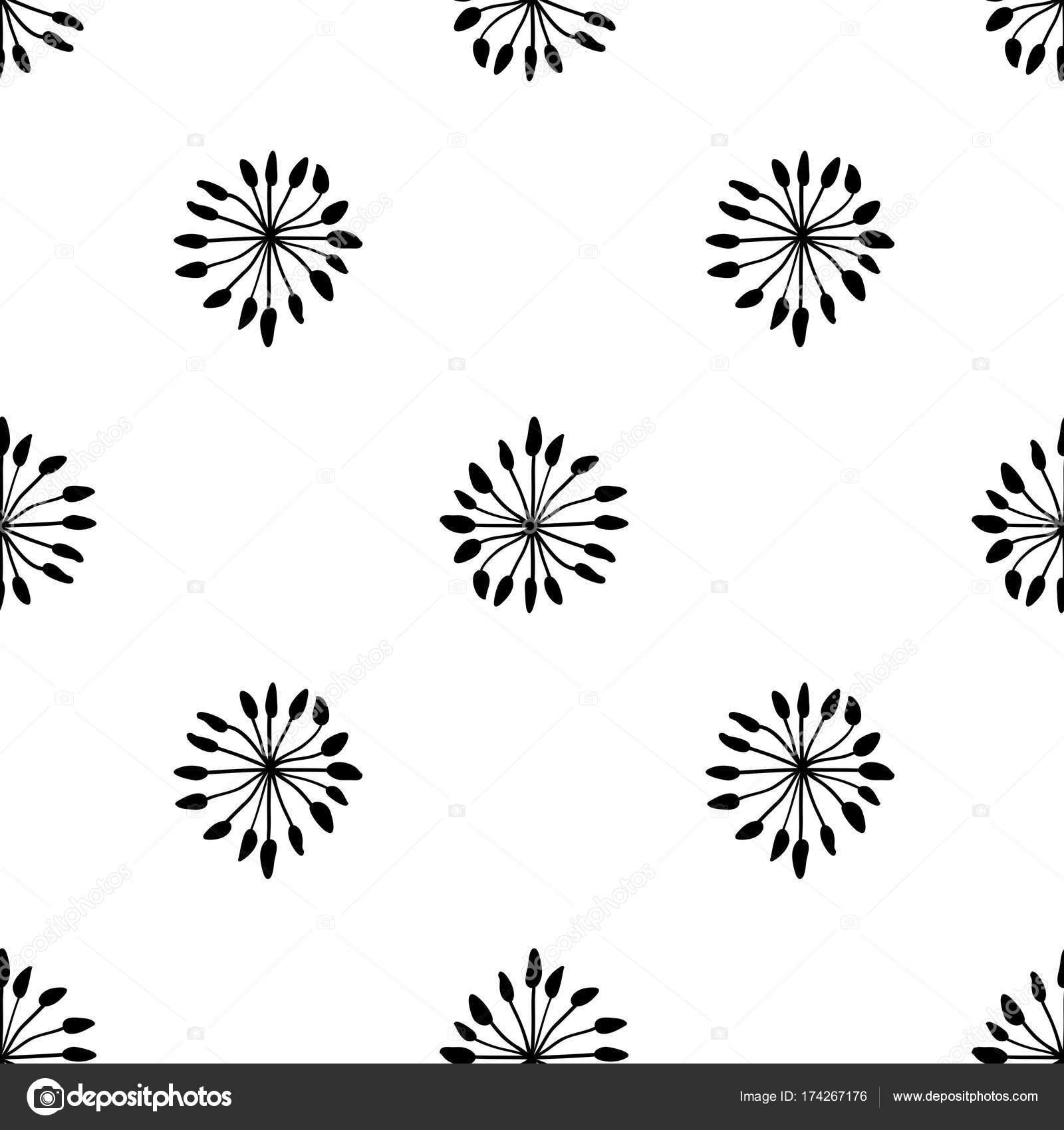 Abstrait Motif Floral Sans Soudure Fond De Noir Et Blanc De