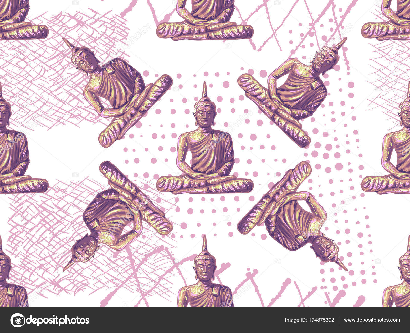 Seamless vintage hippies pattern with sitting buddha thai god seamless vintage hippies pattern with sitting buddha thai god yoga zen esoteric background biocorpaavc Choice Image