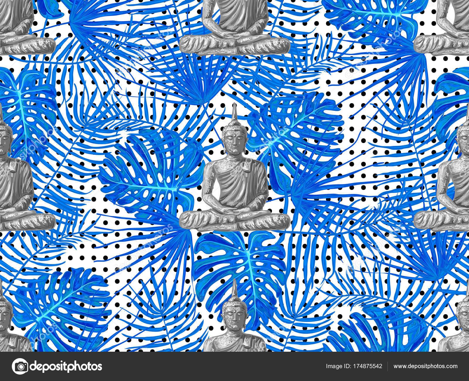 Seamless hippies pattern with sitting buddha palm leaves thai seamless hippies pattern with sitting buddha palm leaves thai god yoga zen esoteric biocorpaavc Choice Image