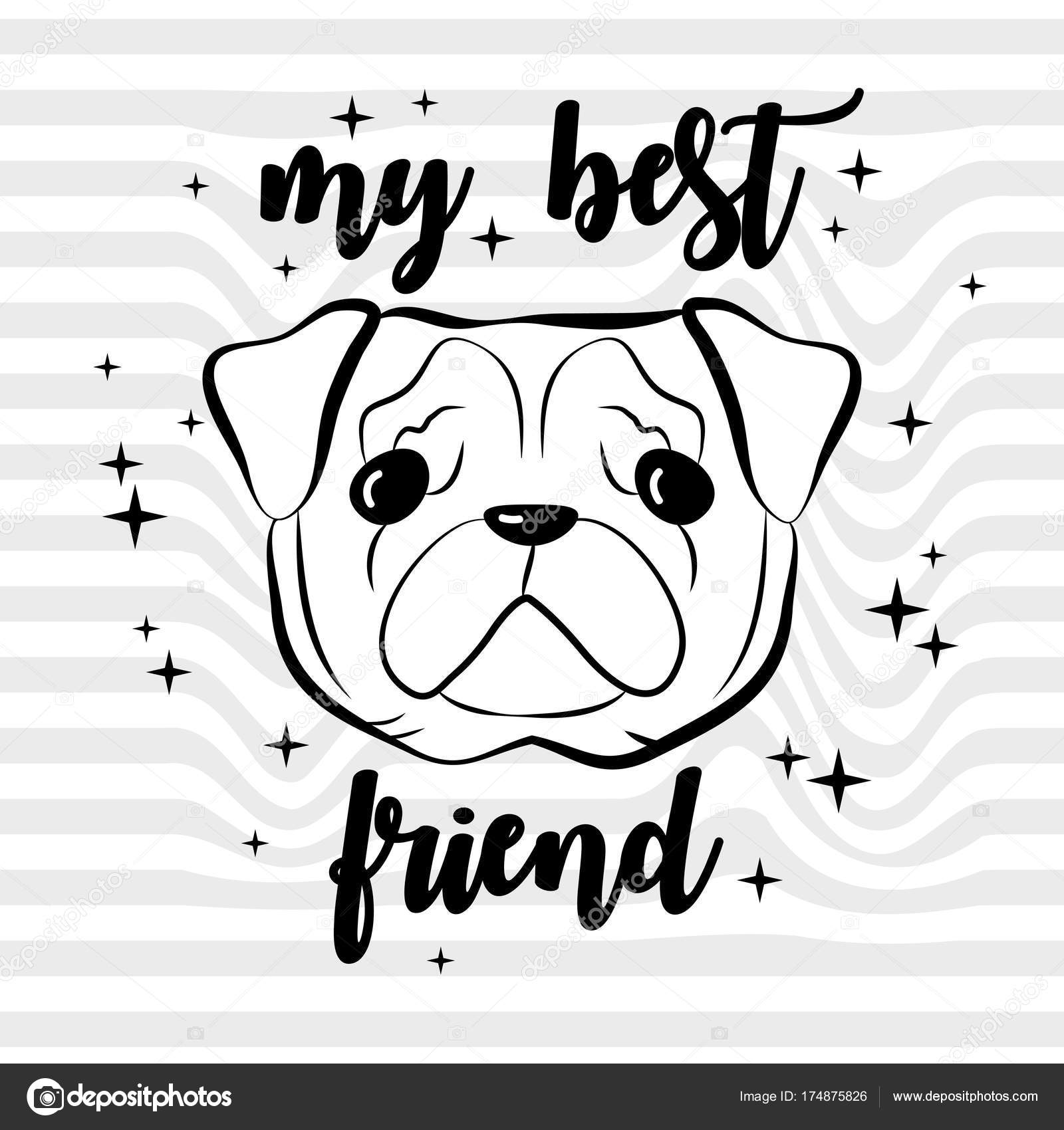 My best friend  French bulldog puppy  Cute design  Vector