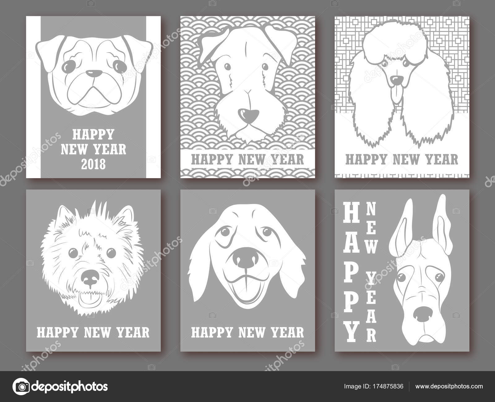 Happy New Year 2018 Set Of Greeting Card Invitation Poster Design