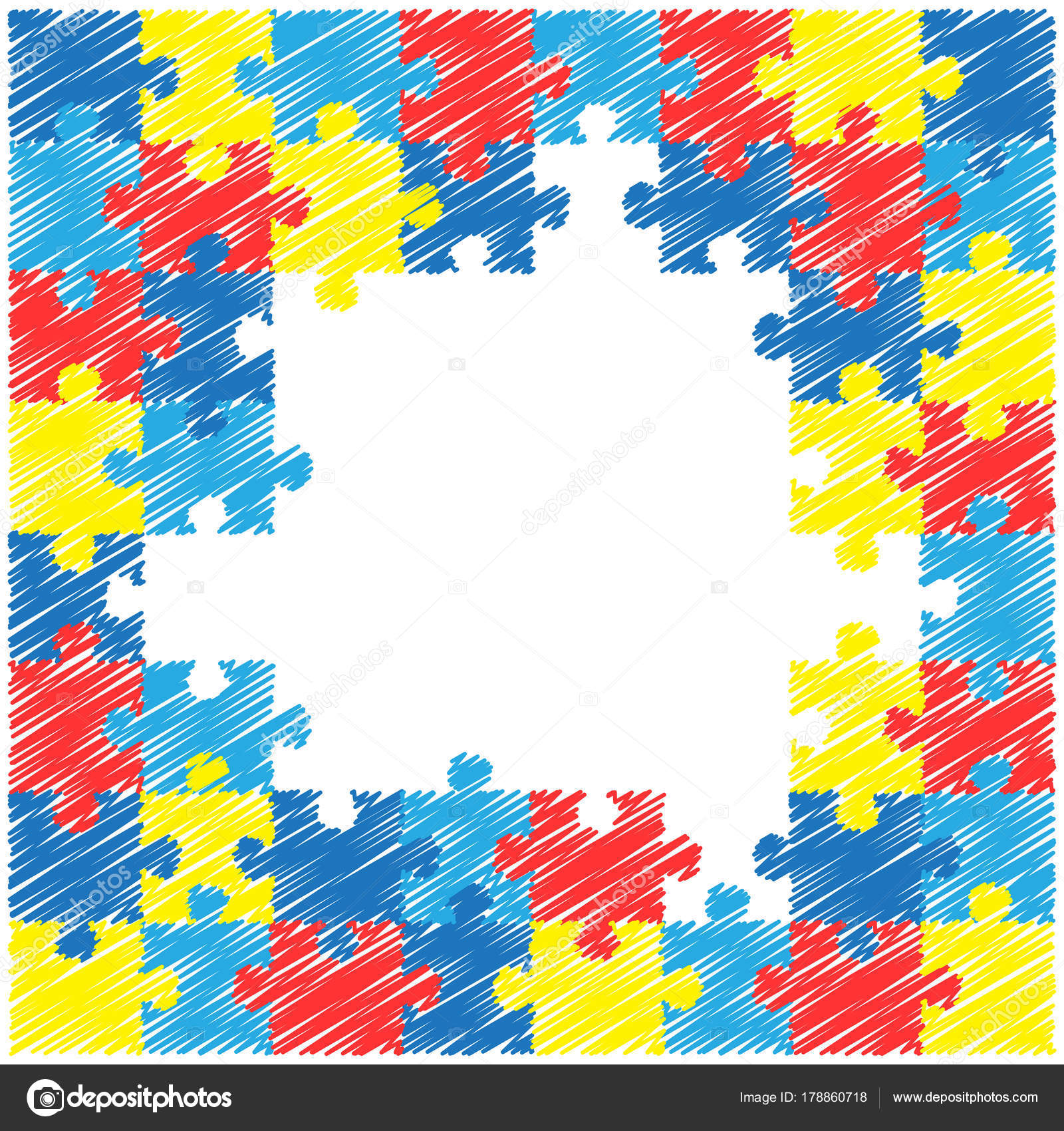 World Autism Awareness Day Colourful Puzzle Vector Design Hand