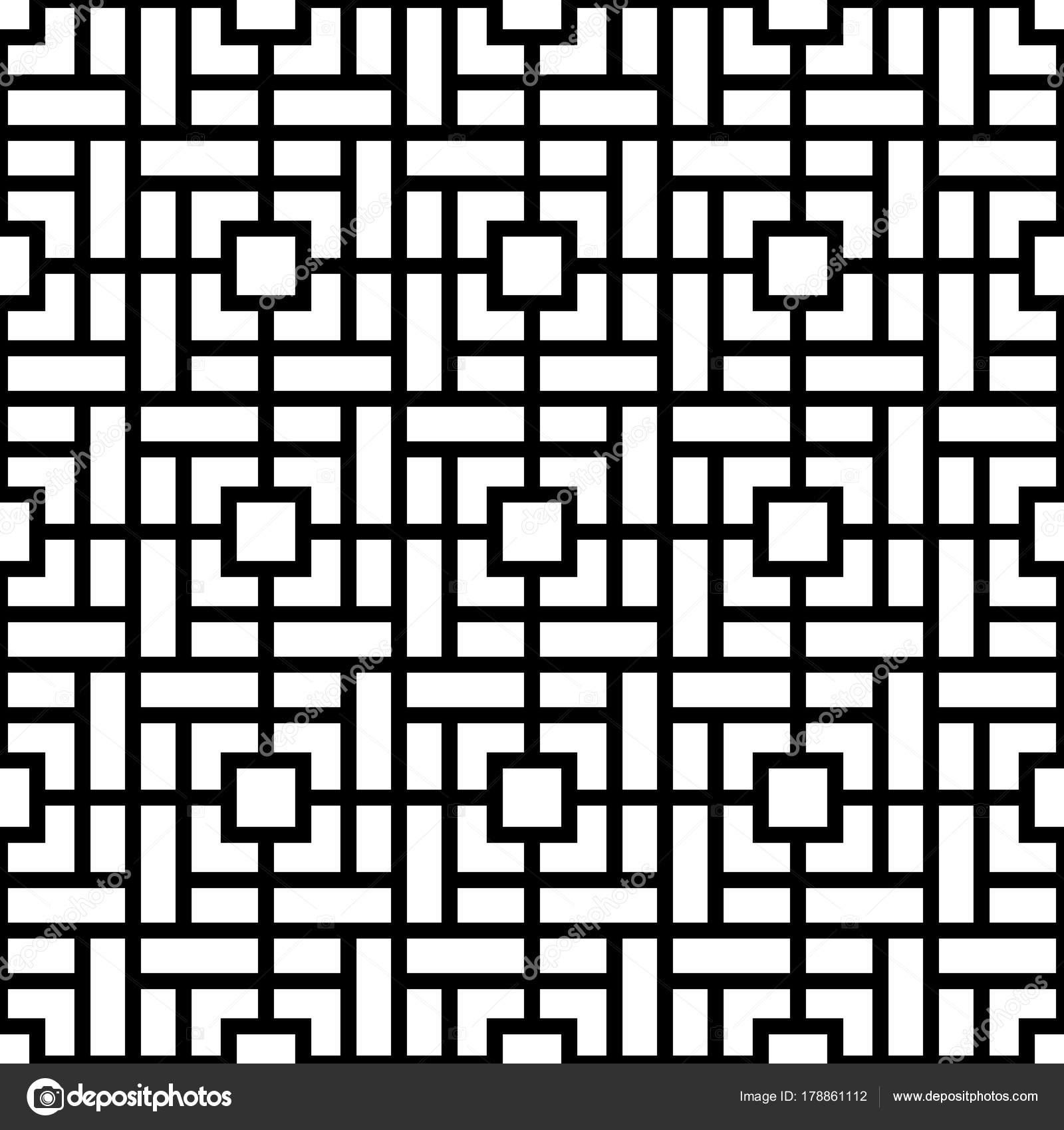 Fondo de vector sin fisuras patrón geométrico mínimo blanco y negro ...