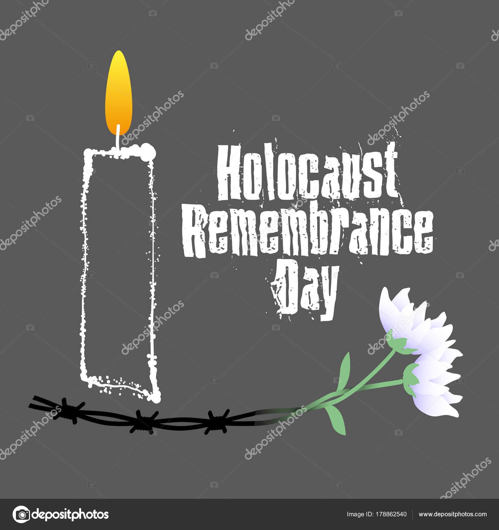 Holocaust Gedenktag Stacheldraht Kerzen Und Blumen Holocaust