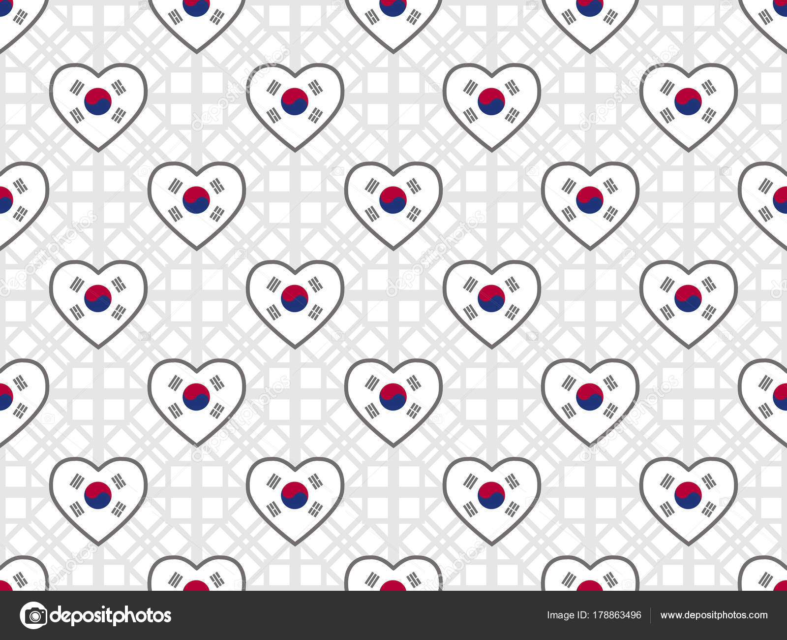 Seamless Pattern With Flag Of South Korea In Heart Shape Design