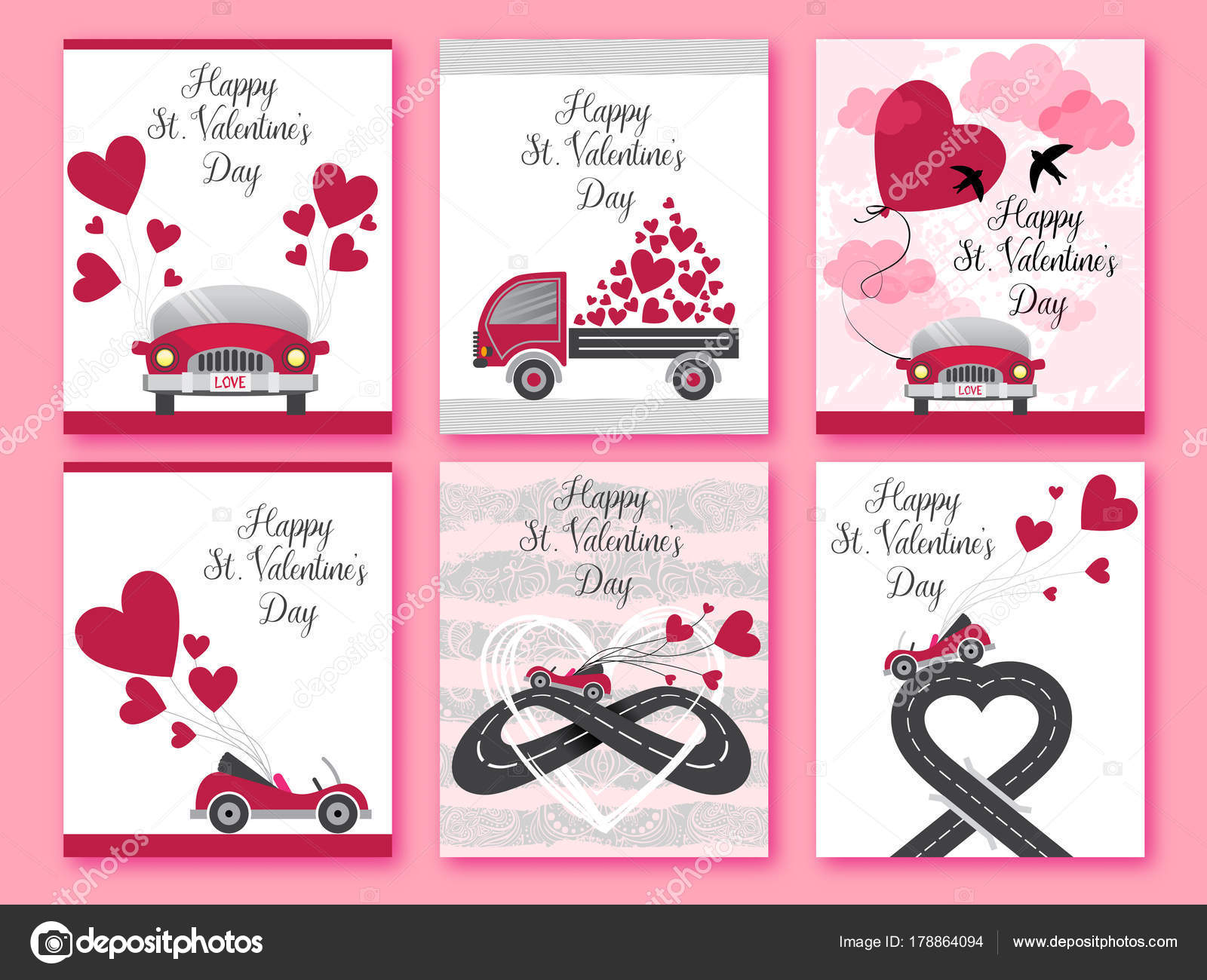 Feliz día de San Valentín. Juego de San Valentín romántico tarjeta ...