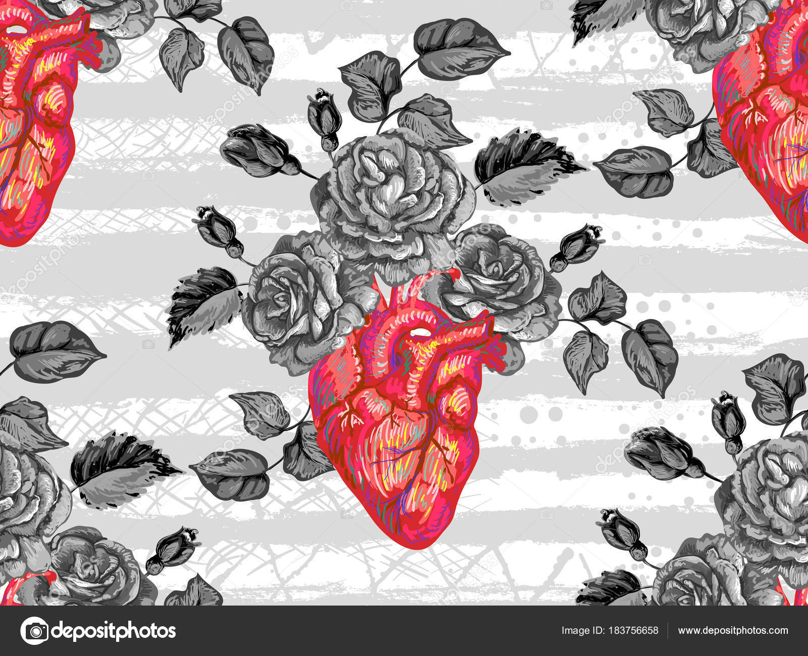 Anatomical Heart Wallpaper Seamless Pattern With Rose
