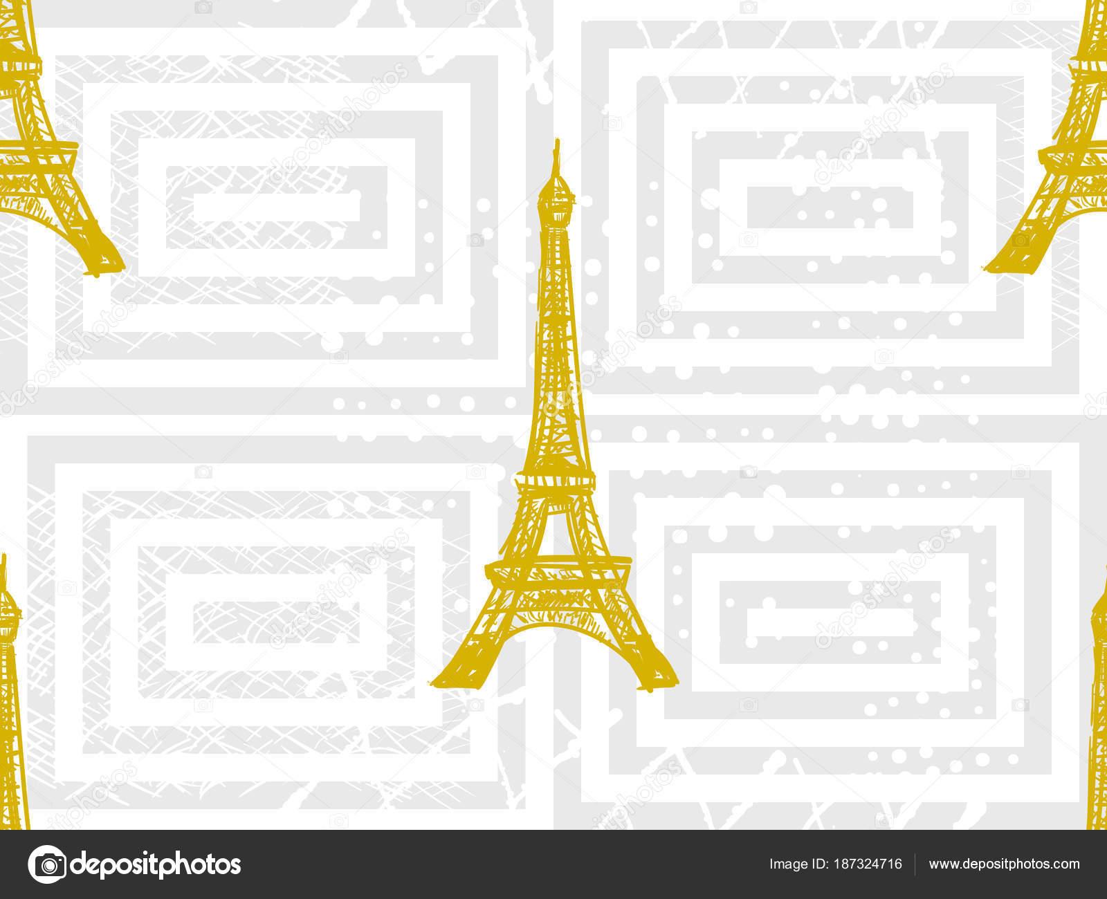 Wzór Paryż Z Wieży Eiffla Tło Wektor Francuski Idealny Do Tapety