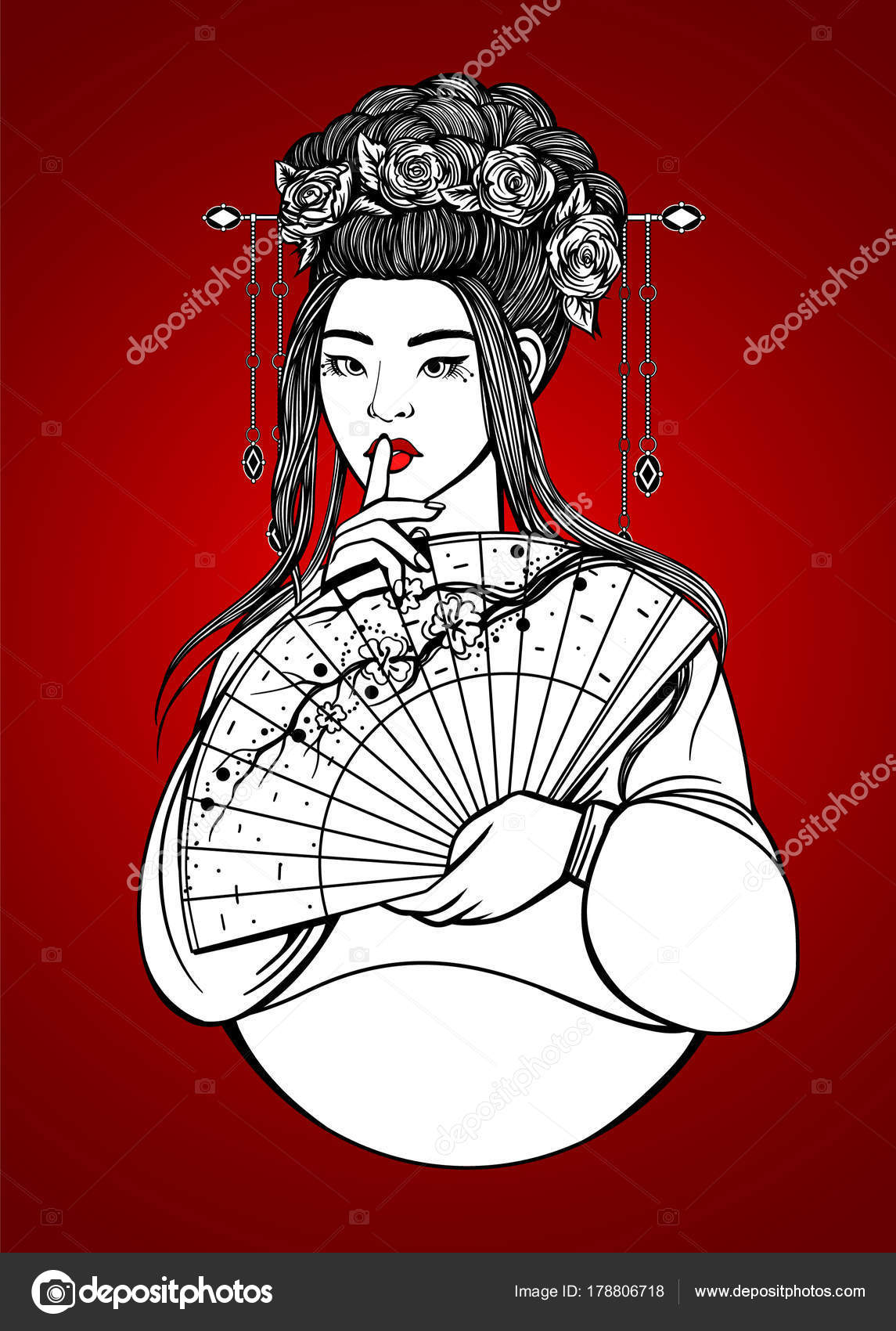 Beautiful Asian Woman Hanbok Flowers Fan Outline Drawing Coloring ...