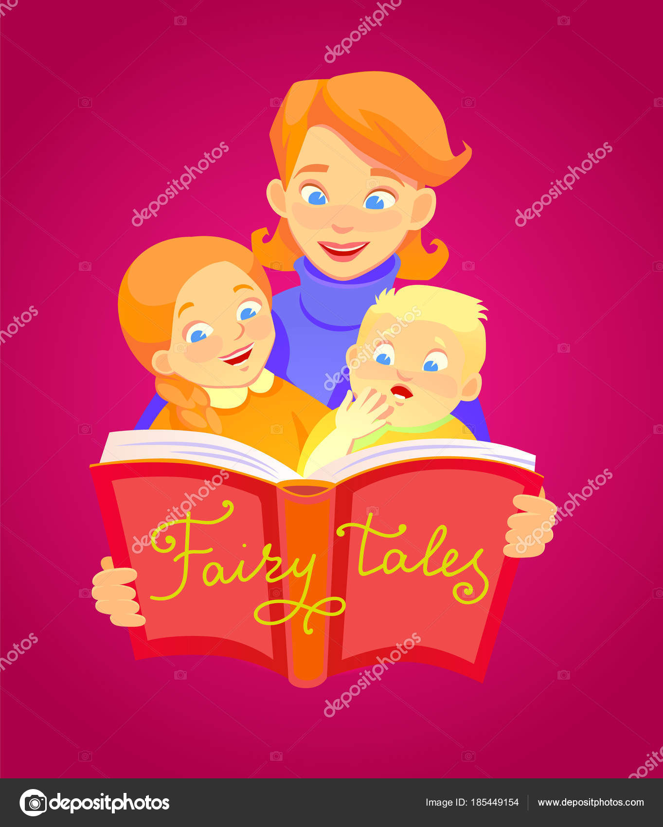 Mother reads a fairy tale to children  A group of characters