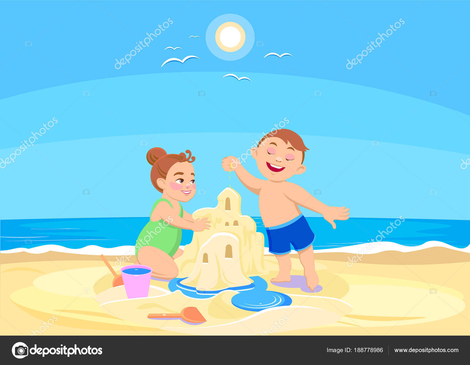 Animado Niños Animados Jugando En La Playa Niños De Dibujos
