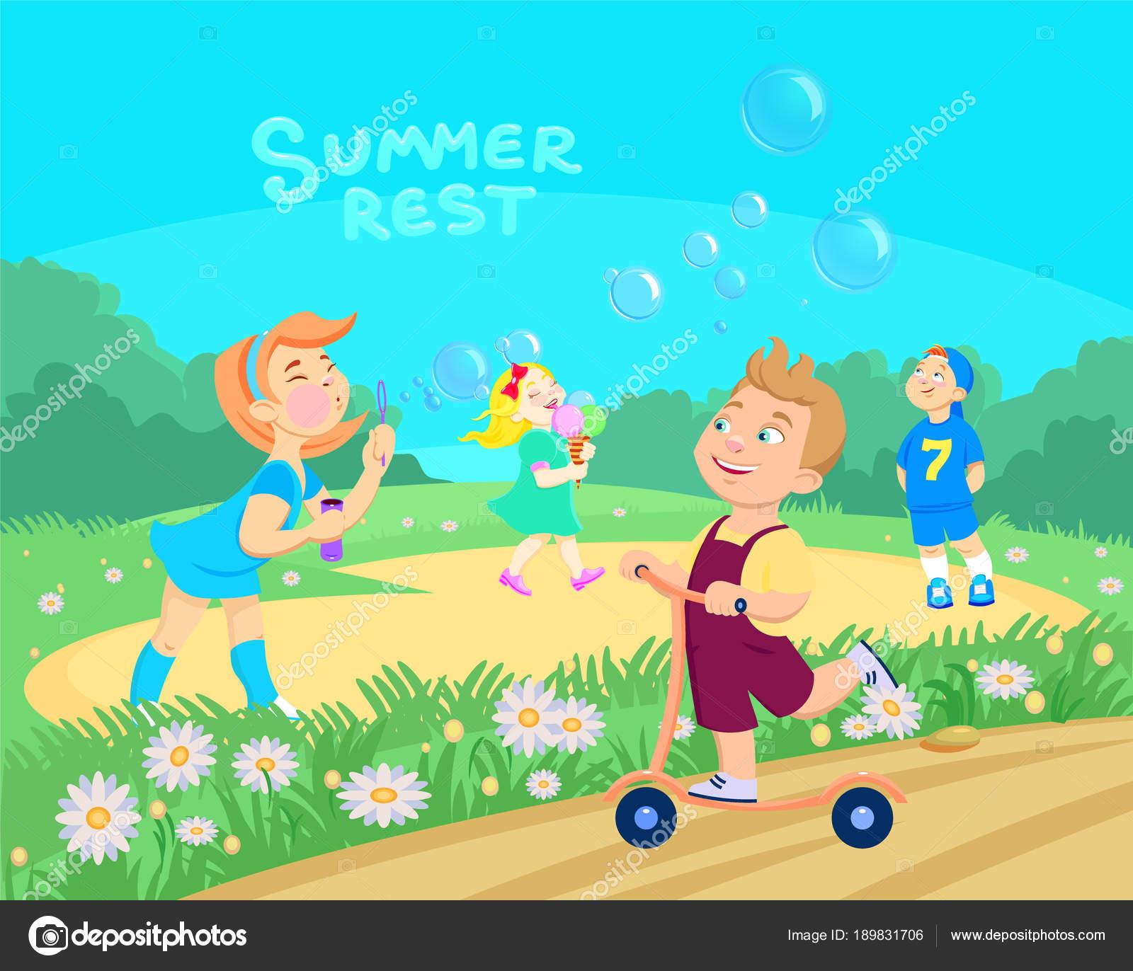 Ninos Jugando Con Agua Caricatura Ninos Caricatura Jugando En La