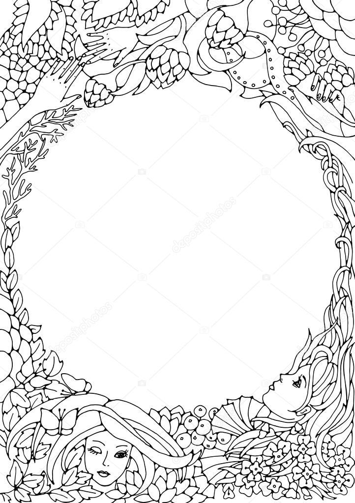 Circulo con ondas para colorear | Elemento decorativo floral con ...