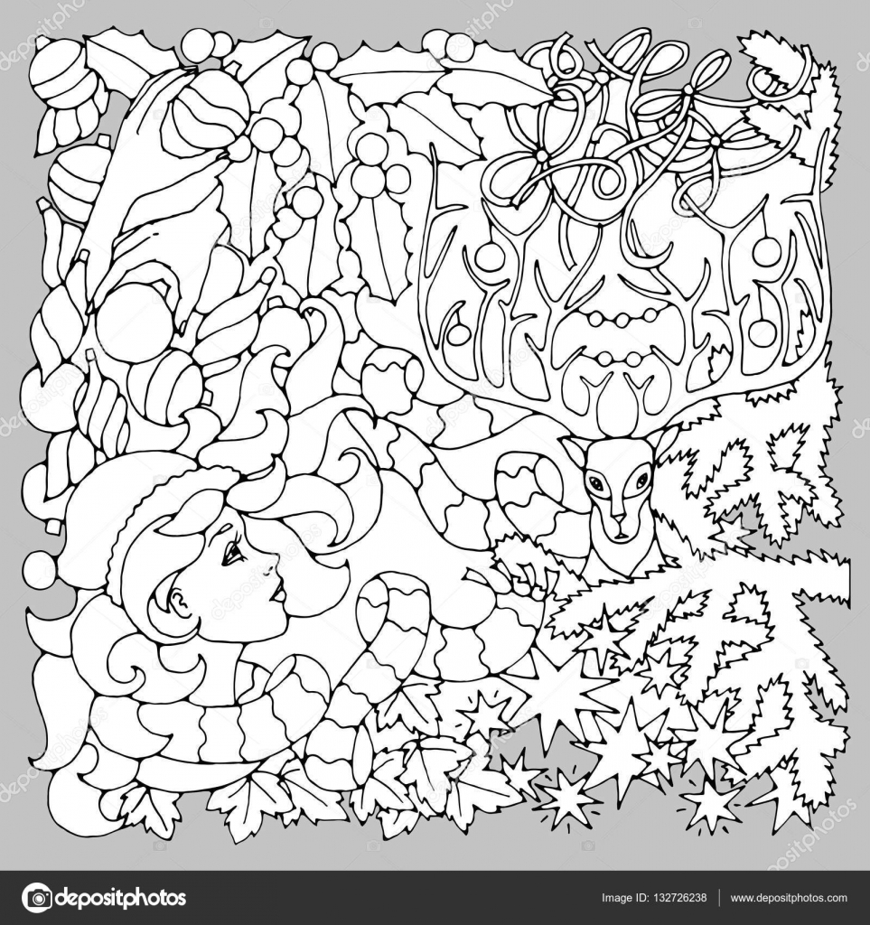 black and white illustration for coloring pages mysterious