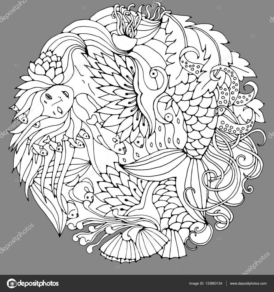 Dekoratives Element mit Meerjungfrau, Blätter, Fisch. Schwarz / Weiß ...
