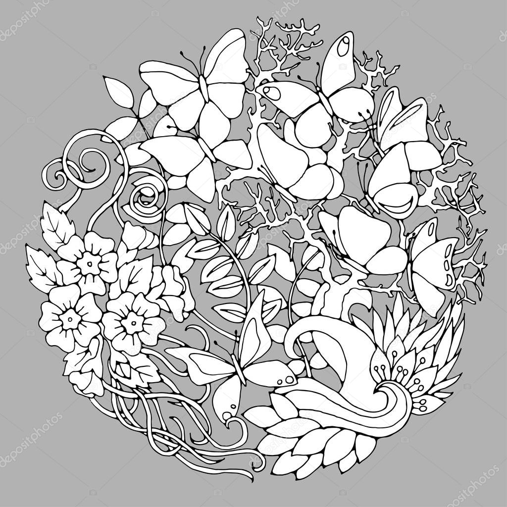 Decorative floral background with butterflies, flowers, leaves and branches. Black and white floral design elements. Vector illustration for coloring pages or other.
