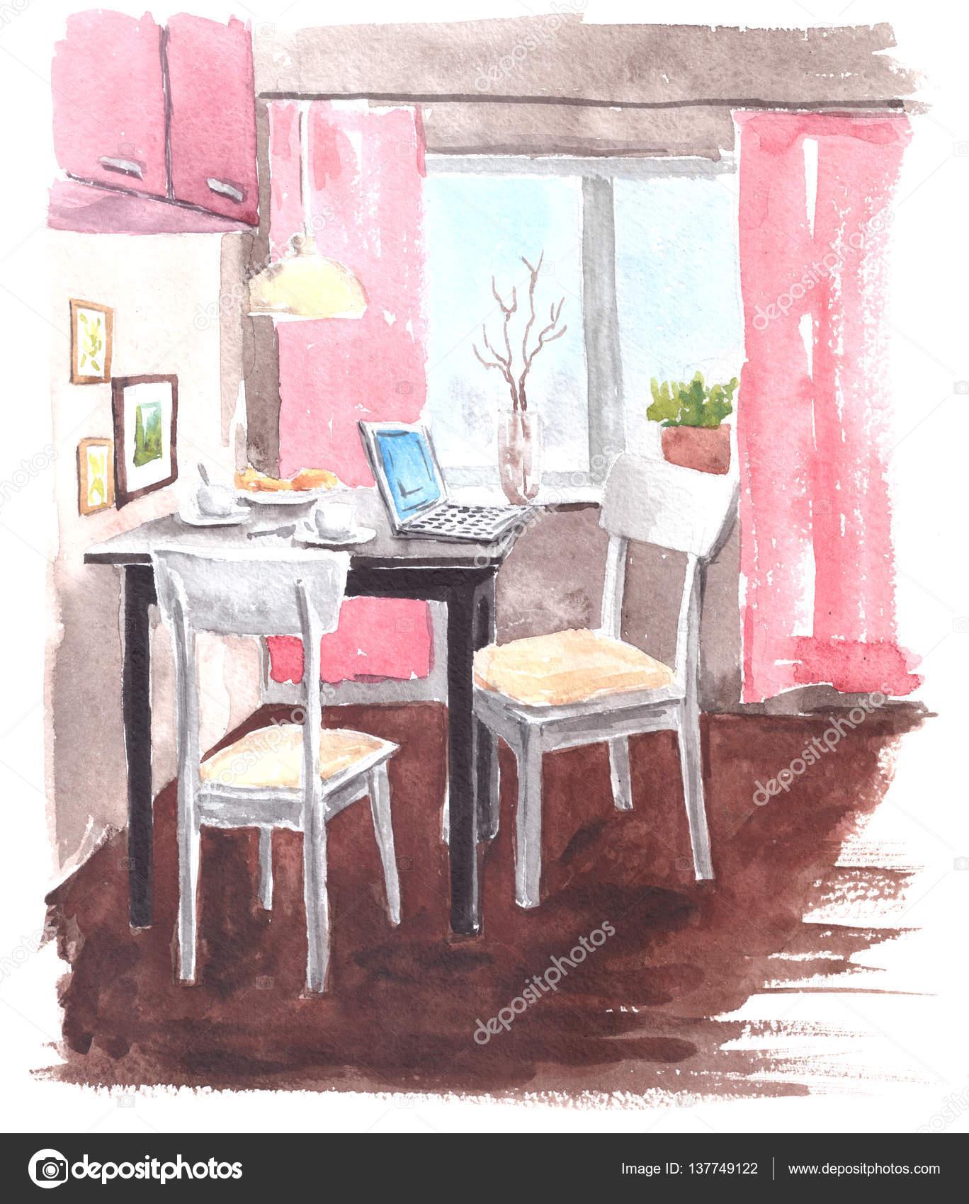 Aquarell Bild des modernen Interieurs - Küche mit Tisch und zwei ...