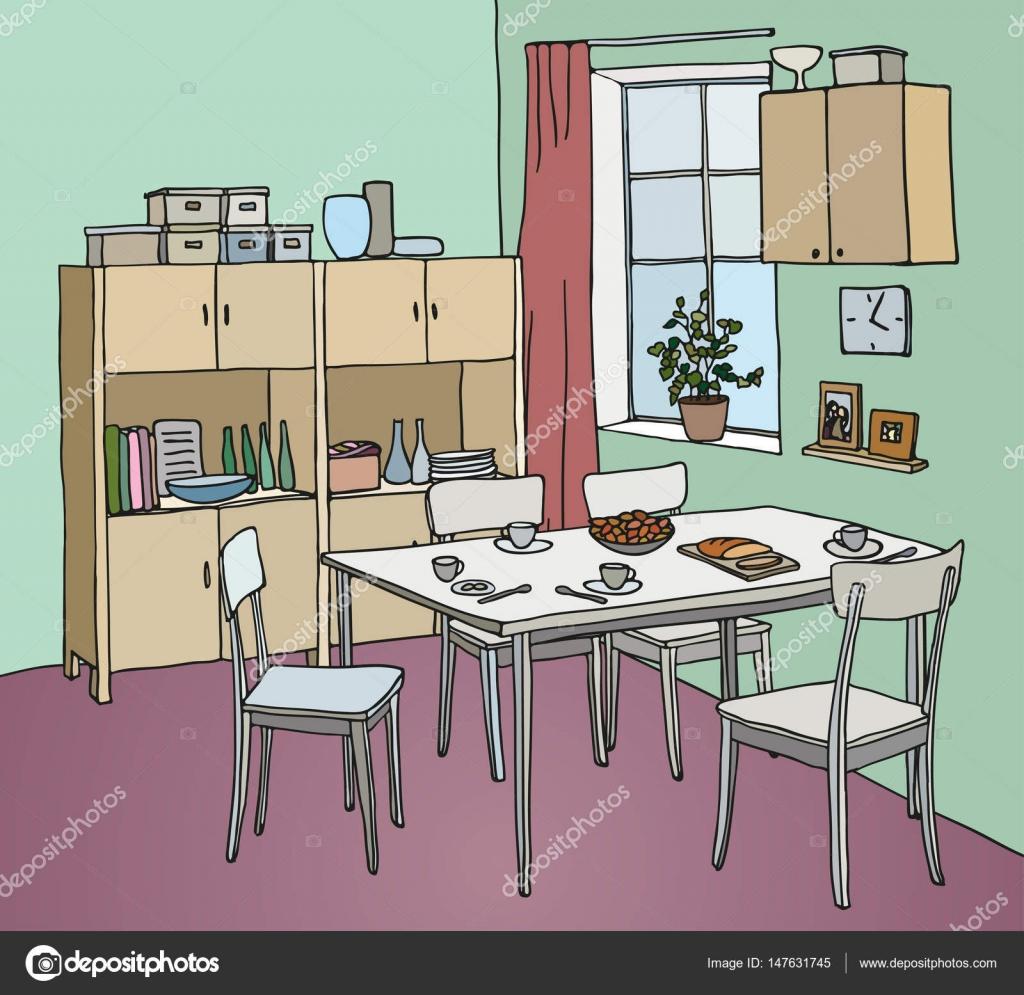 Innenfarbe Abbildung. Küche mit Tisch, Geschirr, vier Stühle ...
