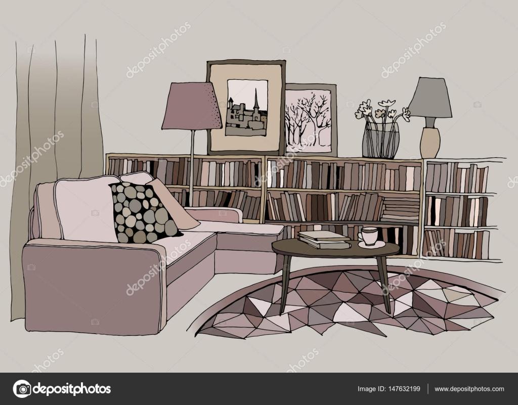 beispiel f r ein modernes wohnzimmer interieur mit einem sofa kissen kleiner tisch. Black Bedroom Furniture Sets. Home Design Ideas