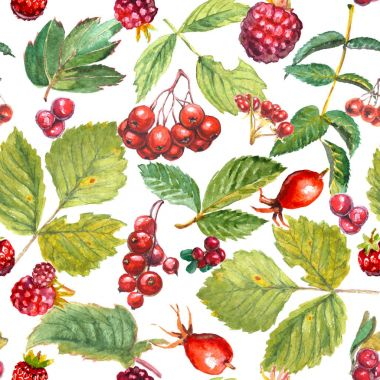 Seamless pattern of watercolor leaves and red berries: rose hips, raspberry, cranberry, hawthorn, redcurrant, stone bramble, strawberry.