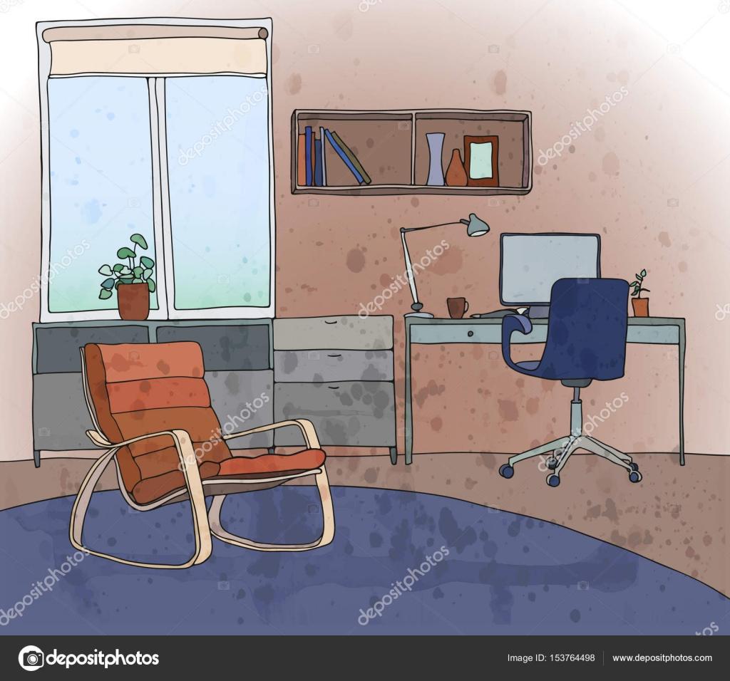 Beispiel Für Ein Modernes Interieur: Wohn Esszimmer Mit Einem  Arbeitsbereich. Ein Fenster,