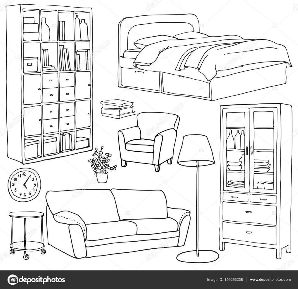 Vector set of modern furniture objects drawn wiht black for Sofa zeichnen
