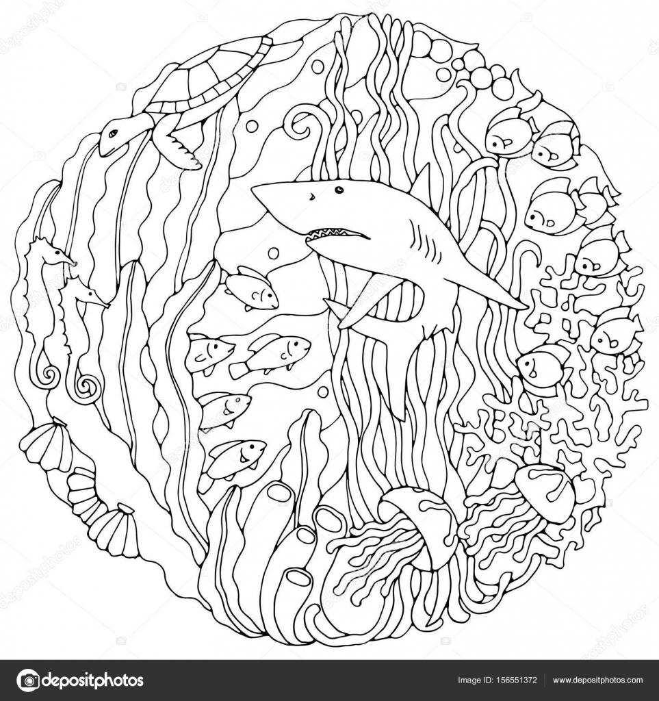 Elemento decorativo con un tiburón, algas, peces, corales, tortugas ...