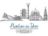 Fotografie Set der Sehenswürdigkeiten von Rostow am Don Stadt, Russland. Schwarze Stiftskizzen und Silhouetten berühmter Gebäude in Rostow am Don. Vektor-Illustration auf weißem Hintergrund.