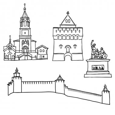 Black pen sketches and silhouettes of famous architecture. Set of the landmarks of Nizhny Novgorodcity, Russia. Vector illustration on white background.