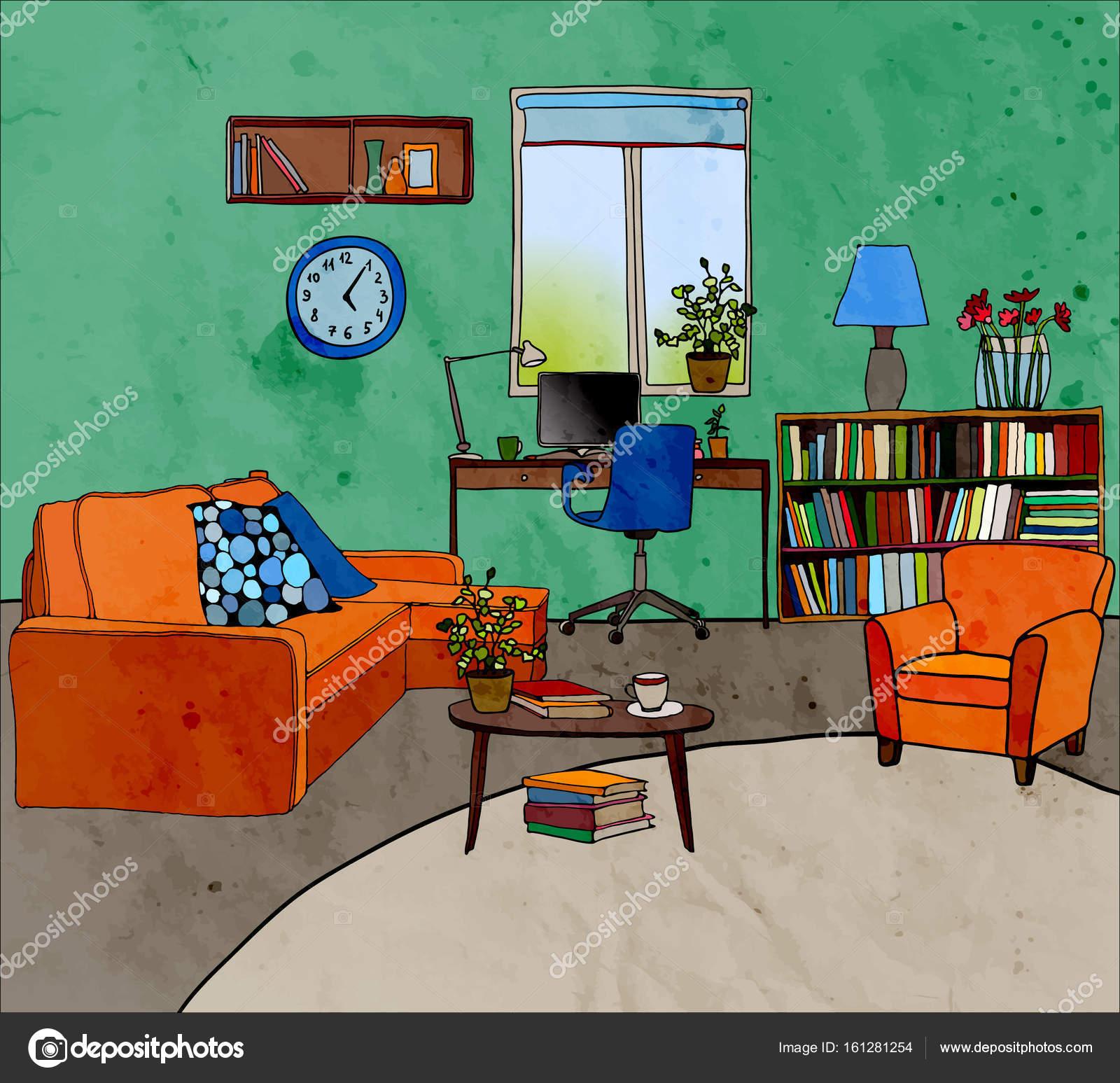 Vektor Illustration Der Modernen Wohnzimmer Möbel Farbe Tisch