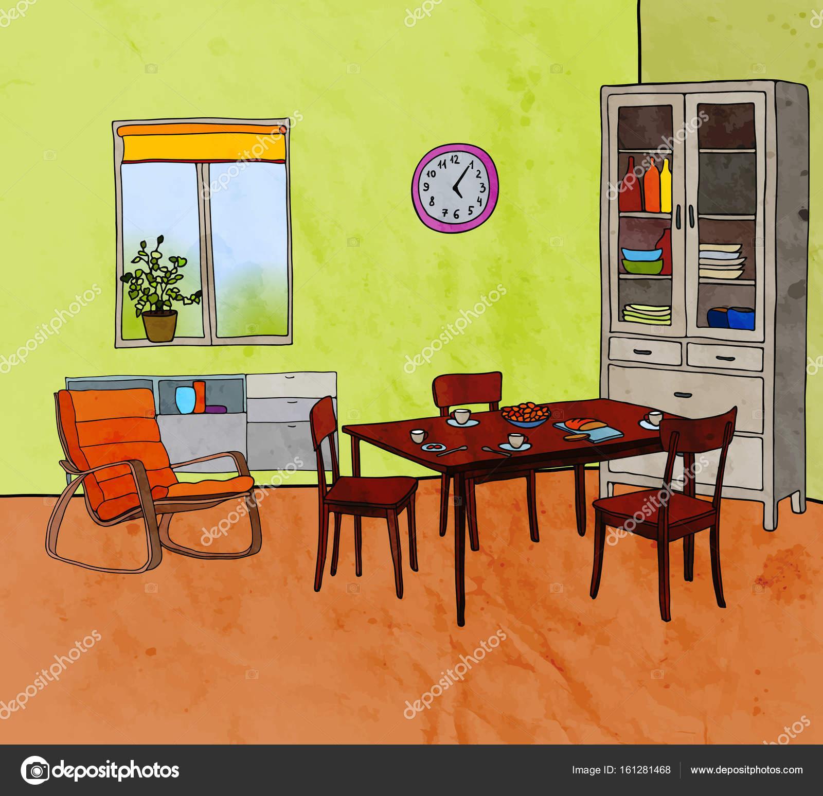 Ilustración de vector de comedor moderno con muebles de color ...