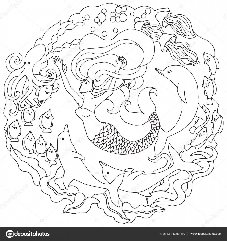 Decorative element with mermaid, dolphins, fish, algae. Black and ...
