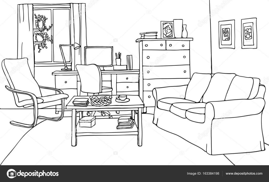 Vector illustration moderne salon avec mobilier table - Salon mobilier de bureau ...