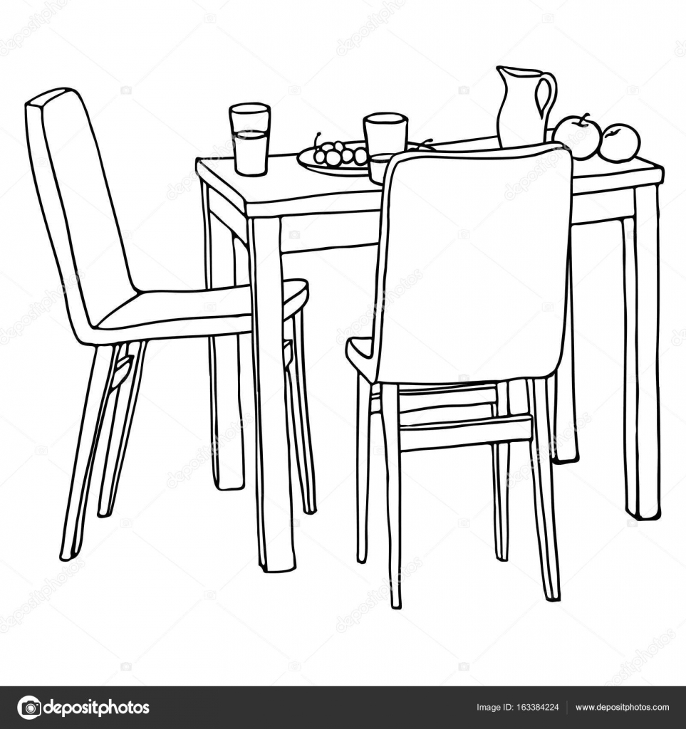 Interior hand-drawn sketch. Kitchen table with morning meal, two ...
