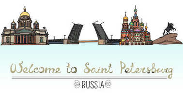 Set of the landmarks of Saint Petersburg, Russia. Vector Illustration. Russian architecture. Color silhouettes of famous buildings located in St. Petersburg.