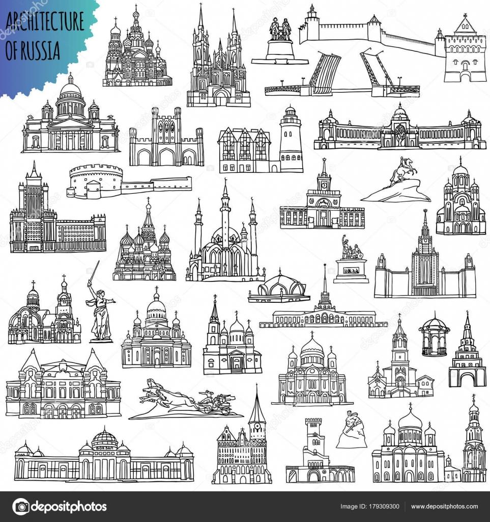 Conjunto de rusos famosos edificios ubicados en las ciudades - Moscú ...