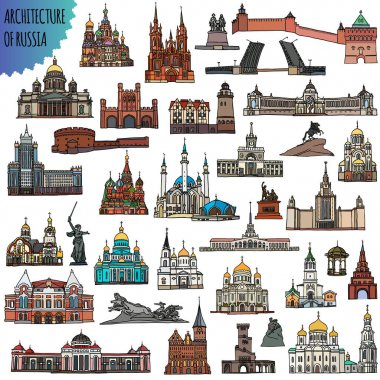 Set of russian famous buildings located in the cities - Moscow, Saint Petersburg, Kazan, Volgograd, Sochi, Saransk and other. Vector Illustration.