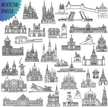 Set of russian famous buildings located in the cities - Moscow, Saint Petersburg, Kazan, Volgograd, Sochi, Nizhny Novgorod and other. Vector Illustration black outlines for coloring pages or other.