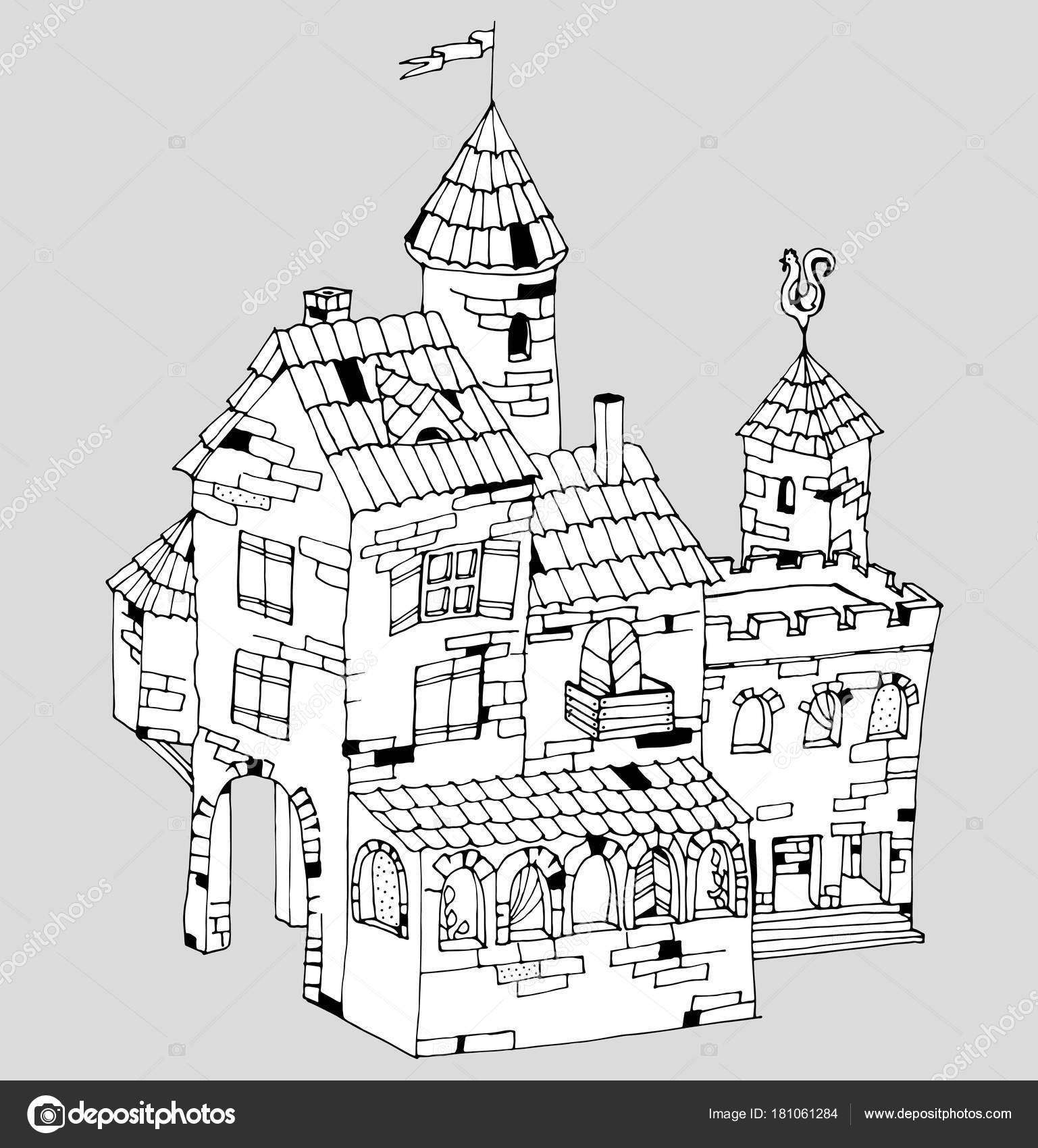 Casa de ladrillo antiguo de cuento de hadas o mansión, vector ...