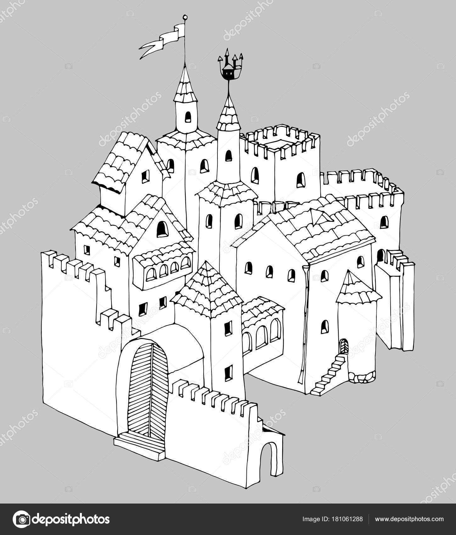 Fairy tale castle, graphic vector illustration ro coloring pages or ...