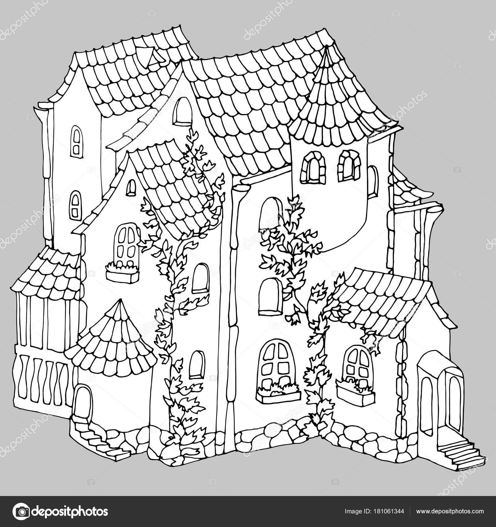 Casa Ladrillo Antiguo Cuento Hadas Mansión Ilustración Vectores ...