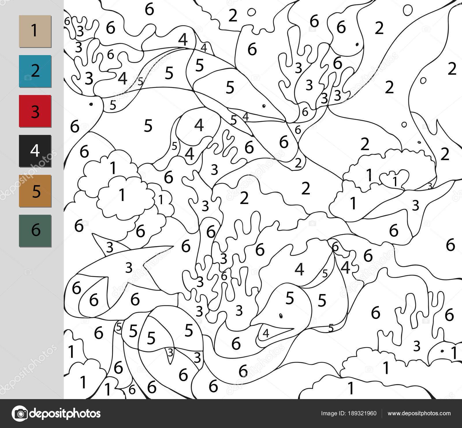 kleurplaat door nummer onderwijs spel een uitdaging voor