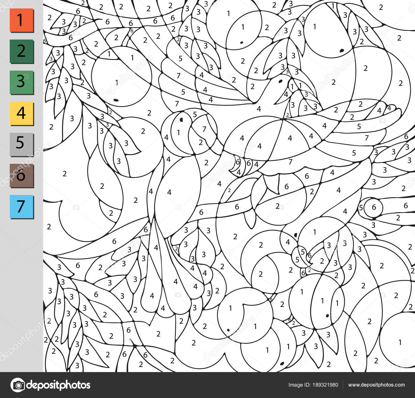 Coloring by number, education game for children. A challenge for ...