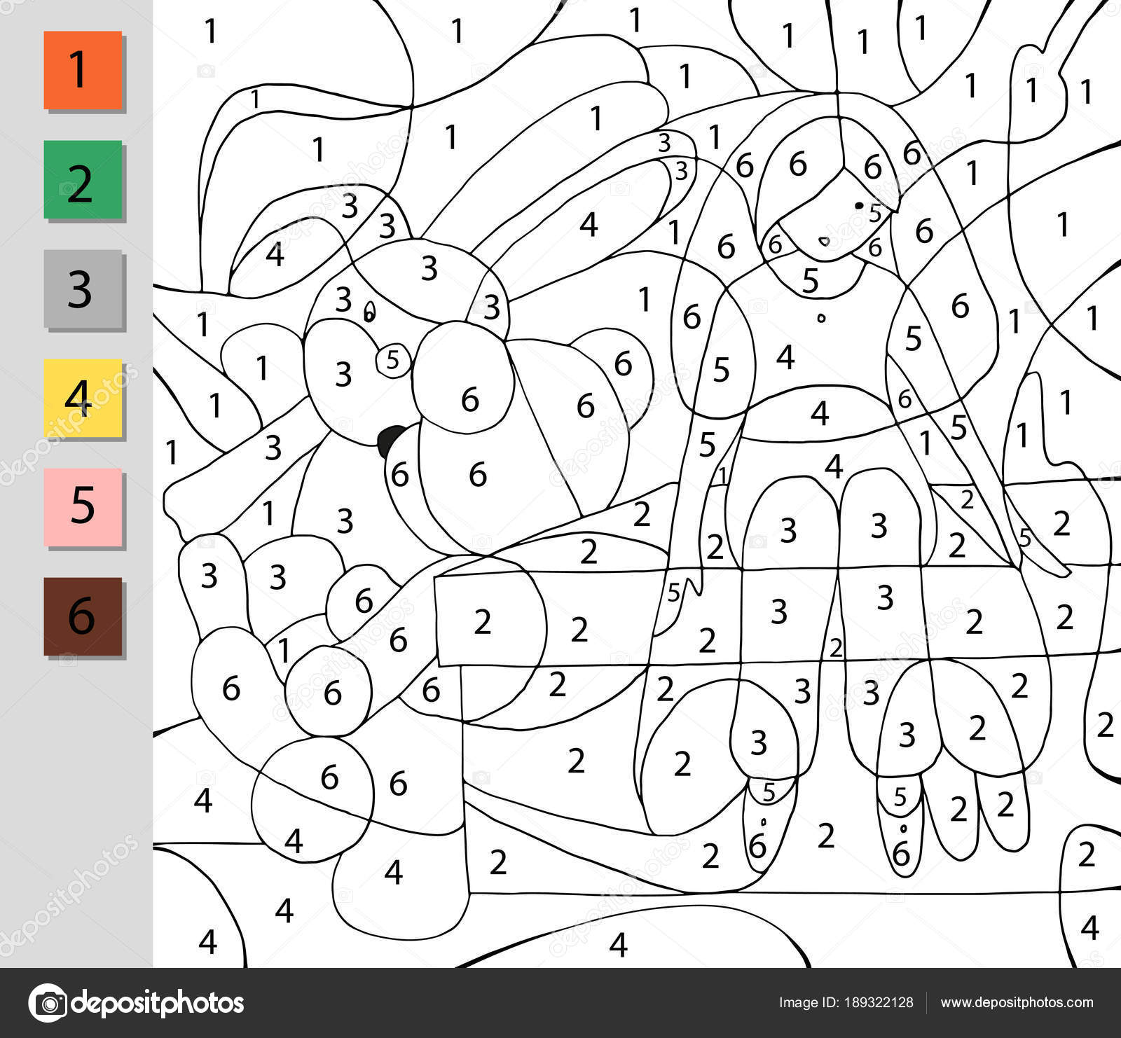 Coloring by number, education game. A challenge for junior ...