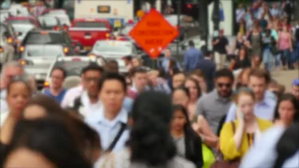 Crowded Downtown Financial Chicago Loop Blurred