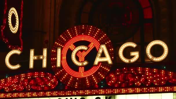 Chicago helle Neon-Theater Festzelt in der Nacht