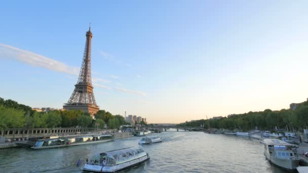 Eiffel Tower next to the River Seine at Sunset