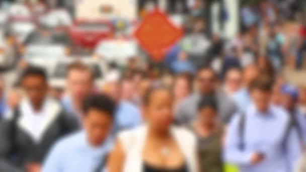 Crowds of People in Downtown Financial Chicago Loop Blurred